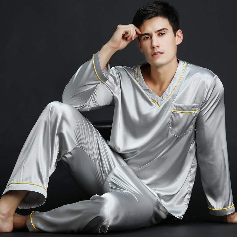 2019 New Spring Autumn Men Silk Satin Pyjamas Set Men Long-Sleeve Pajama Set Male Sexy Sleepwear Leisure Home Clothing Plus Size