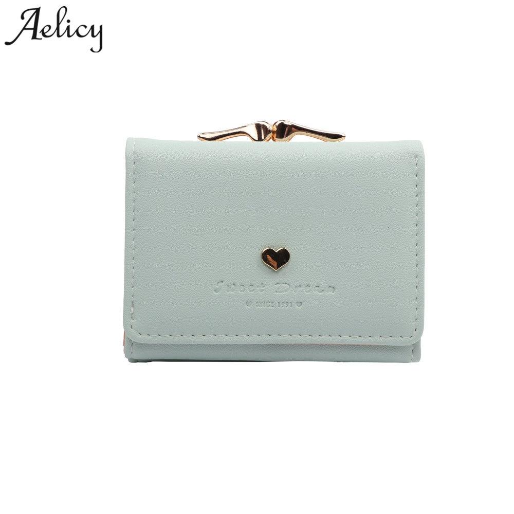 6dc43816f Aelicy curto pu carteira de couro feminina 2019 moda de nova marca mulheres  carteiras da bolsa das senhoras das mulheres sólidos bolsas 1113