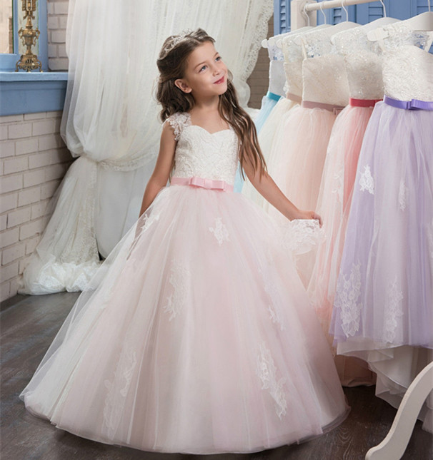 Pink Tulle Lace Flower Girl Dresses Sleeveless Appliques O-Neck Ball Gown First Communion Dresses Vestidos Longo Customized Gown customized ball gown 2018 fluffy flower girls dresses tulle applique lace ankle length sleeveless communion gown actual image