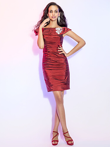 Straight  Off-the-shoulder  Mini  Taffeta Cocktail Dress