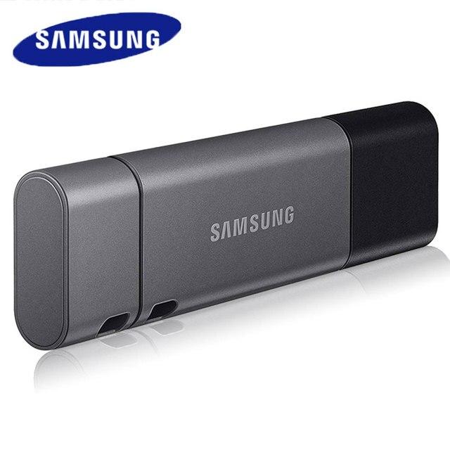 Samsung duo plus usb 3.1 flash drive, 32gb 64gb 128gb 256gb metal tipo c memory stick pendrive para smartphone tablet computador