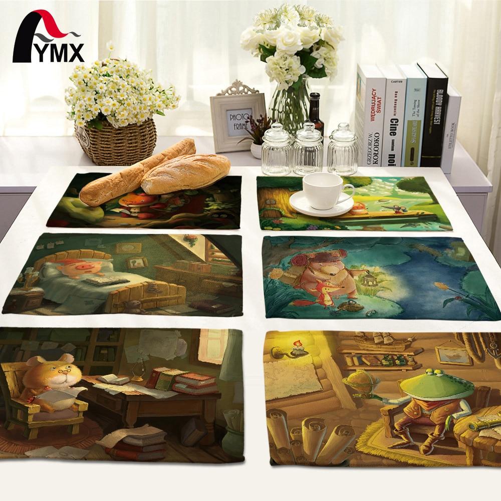 Kitchen Art 32cm: 42*32cm Cute Cartoon Polyester Napkins For Wedding Table
