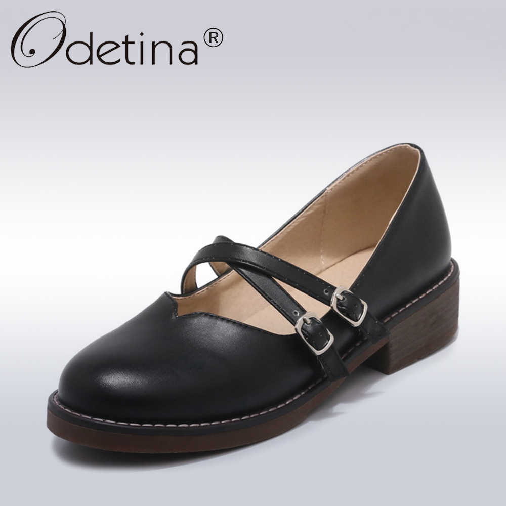 2f77b69bcefb Odetina 2018 New Fashion Woman Sweet Mary Janes Shoes Comfortable Round Toe  Low Heels Buckle Strap