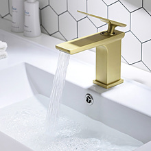 Bathroom Waterfall Faucet Cold And Hot Water Washbasin Mixer Tap Deck Mounted Bathroom Sink Brass Water Tap