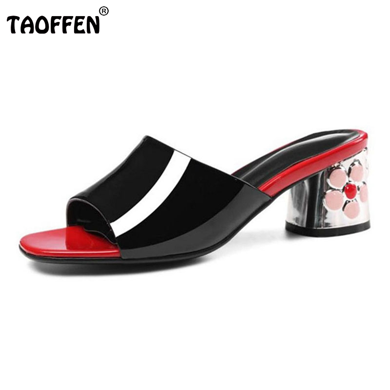TAOFFEN Size 34-43 Fashion Women Real Genuine Leather High Heel Sandals Flower Open Toe Gold Heel Sandals Summer Club Shoes mmnun 2017 boys sandals genuine leather children sandals closed toe sandals for little and big sport kids summer shoes size26 31