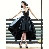Sexy Little Black Dress spaghetti strap Cocktail Dresses Short Front Long Back Backless Latest Gown Design High Low Prom Dress