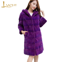 LVCHI Natural Fur With Fur Hood Fur Women S X Long Causal Mink Coat 2018 Wave