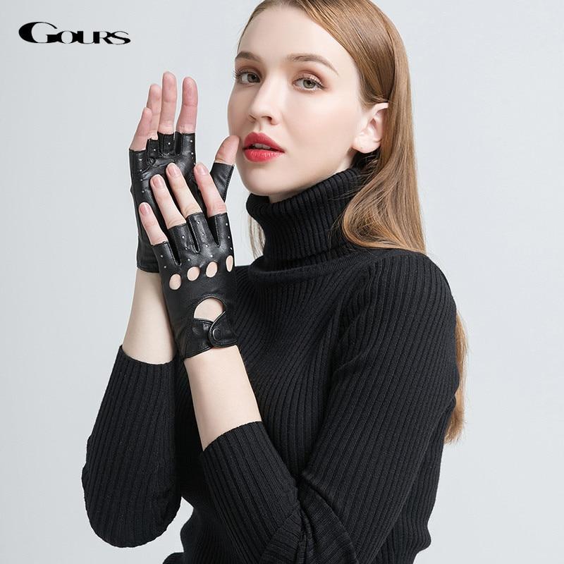 Gours Genuine Leather Gloves for Women Black Fashion Goatskin Fingerless Gloves Winter Half Finger Fitness New Arrival GSL052