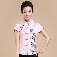 Hot Sale Pink Embroidery Blusas Femininas Summer New Style Women Cotton Shirt Elegant Flower Blouse S M L XL XXL XXXL WS091