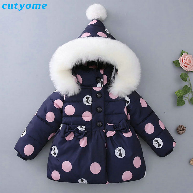 Winter Baby Kids Girls Down Coat Clothes With Faux Fur Hooded Thicken Parkas Outerwear Warm Children Girl Cat Printed Down Coat children winter coats jacket baby boys warm outerwear thickening outdoors kids snow proof coat parkas cotton padded clothes