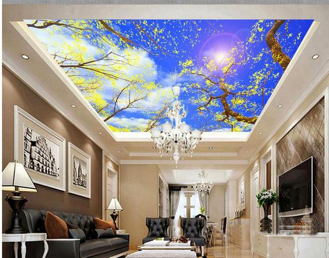 image of living room 3d customized wallpaper blue sky and white clouds 16394