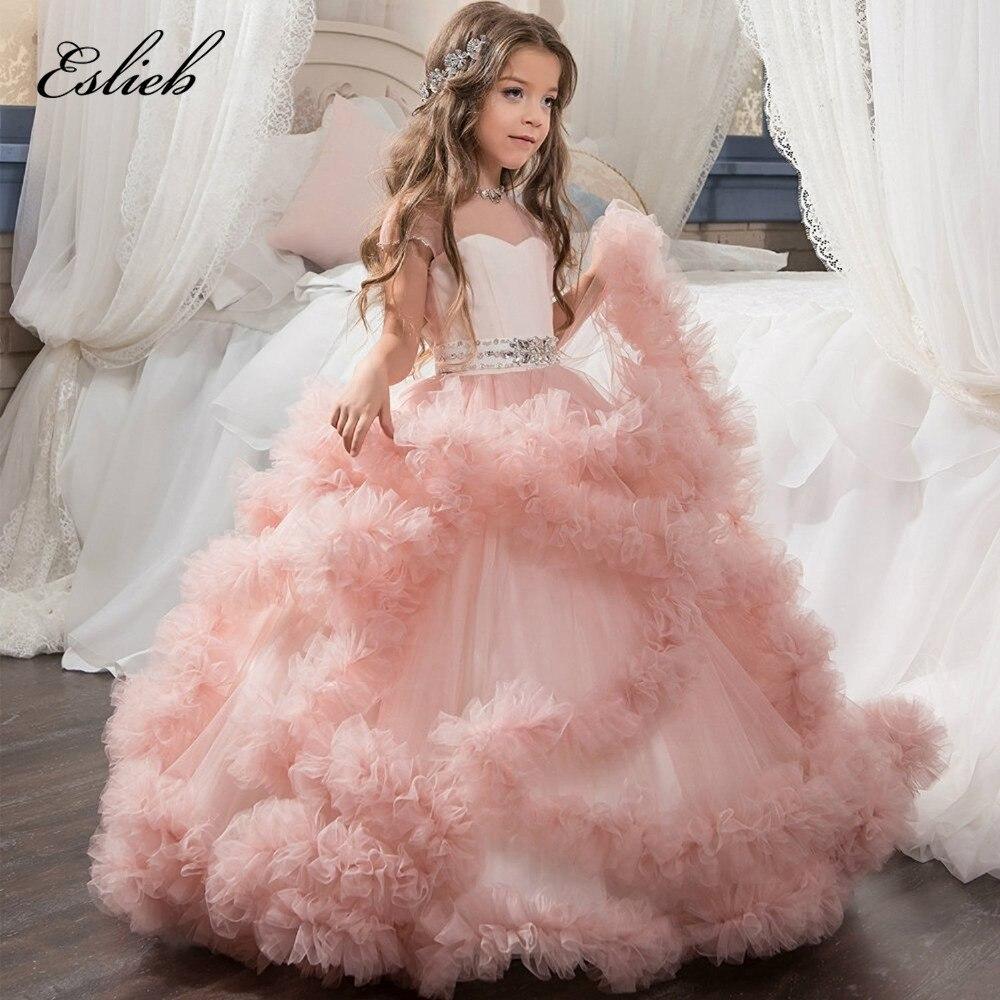 Custom made 100%   flower     girls     dresses   for weddings first communion   dresses   for   girls   kids evening gowns prom   dresses   2017