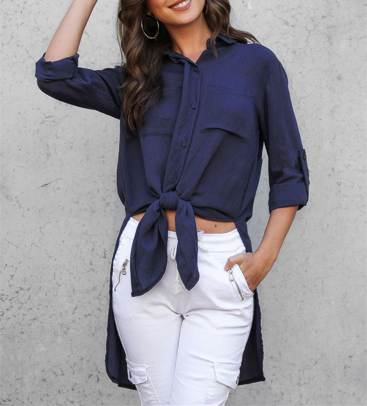 Side Split Womens Blouses and Tops Autumn Long Sleeve Bandage Long Shirt Women Buttons Blouse with Pockets Blusas Femme WS9951M