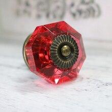 Diam 38mm Red Crystal Acrylic Closet Door Knobs Drawer Cabinet Wardrobe Pull handle 5PCS