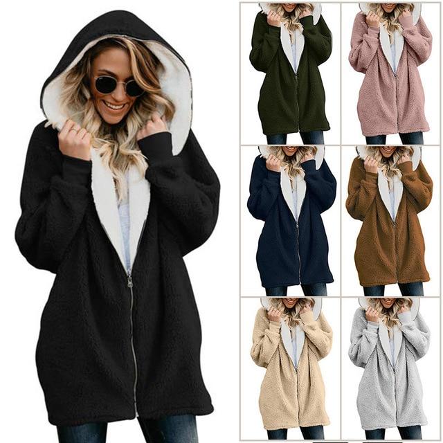 2019 Sherpa Fleece Sweater Oversize 5XL Fluffy Long Cardigan Autumn Winter Hooded Streetwear Women Zippered Sweaters