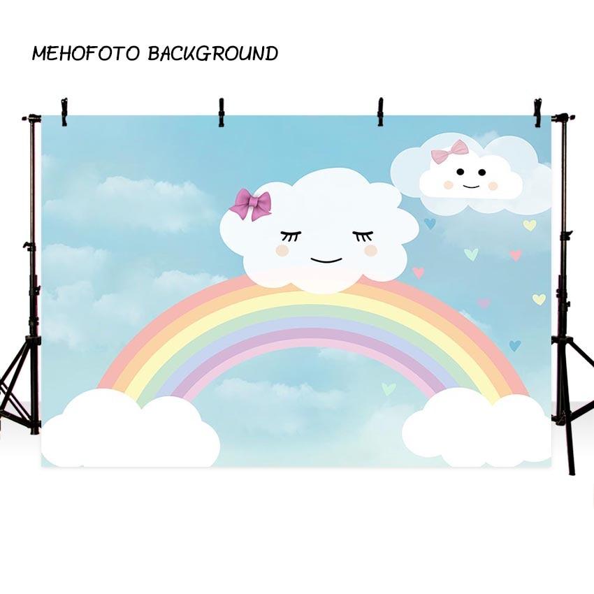 background cartoon blue sky white cloud umbrella rainbow baby show birthday theme backdrop professional photo studio