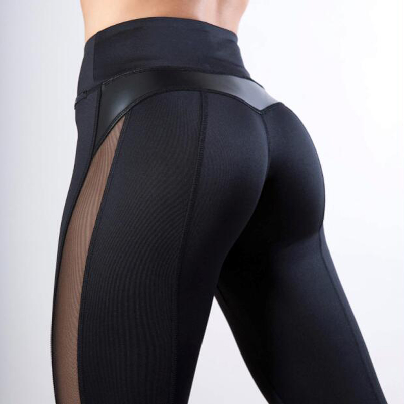 High Quality Women Warm   Leggings   Leather Black Mesh Splice Fitness New   Leggings   Girls Winter Legginsg for Women