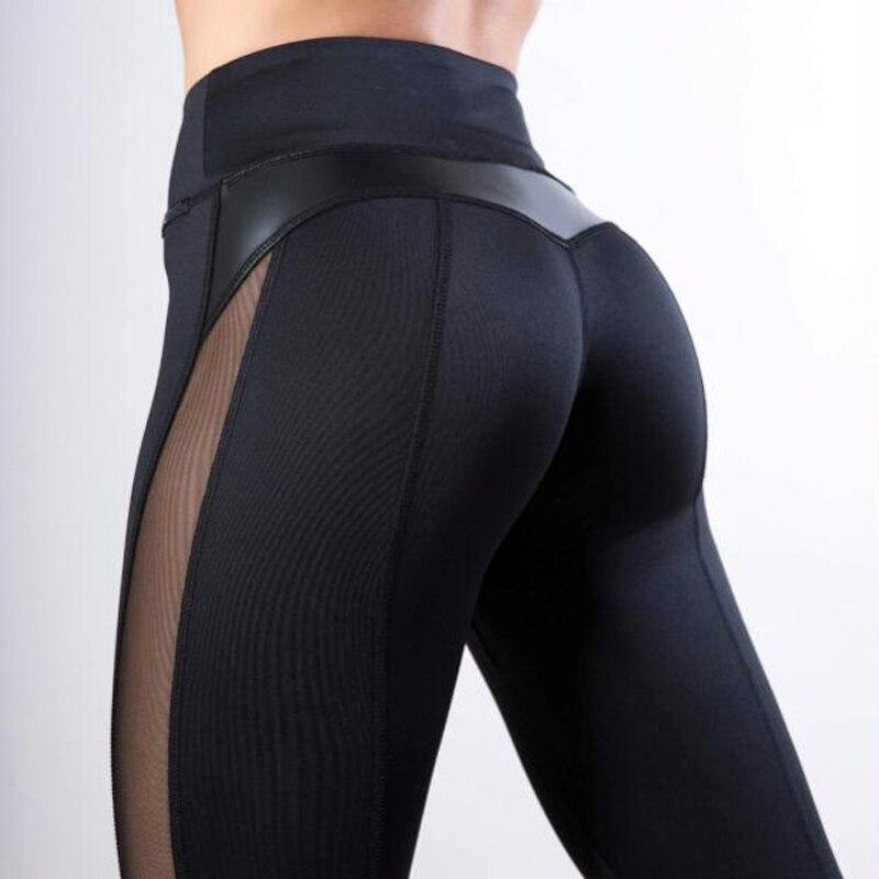 Las mujeres de alta calidad caliente polainas de cuero negro de malla empalme Fitness nuevos Leggings niñas invierno Legginsg para las mujeres