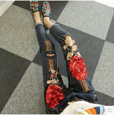 Europe Style Women Fashion Jeans 2018 Spring Autumn Female Students Red Rose Sequins Slim Small Foot Denim Pants Trousers Outfit