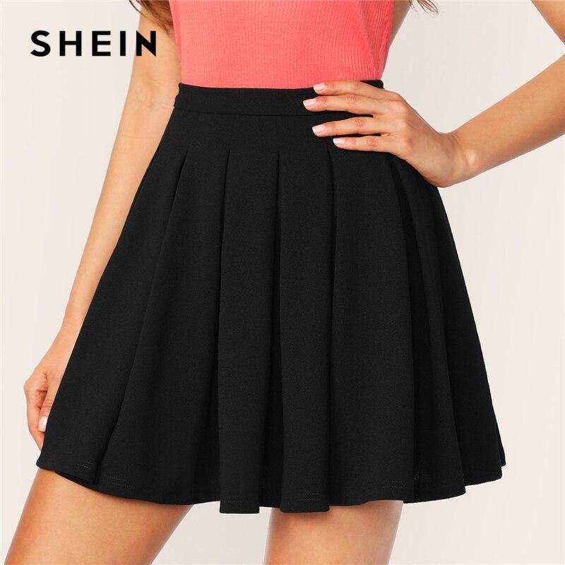 SHEIN Black Zip Back Boxy Pleated Solid Mid Waist Flared Mini Skirts Womens Summer 2019 A Line Elegant Casual Workwear Skirt