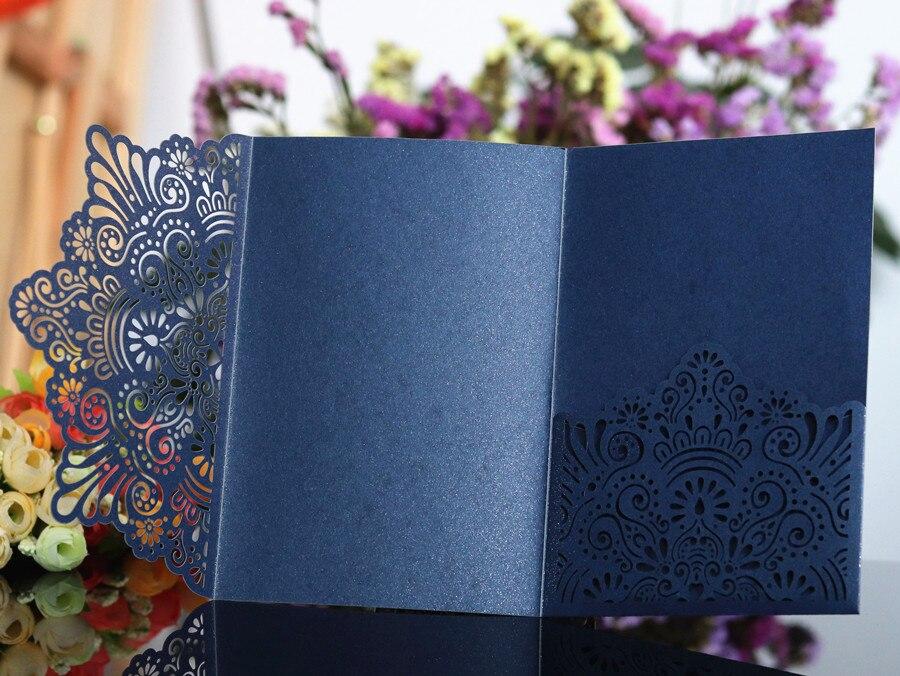 Elegante Tarjeta de invitación personalizada bolsillo tri plegable tarjeta de invitación de negocios blanco azul flor corte láser 50 unids/lote-in Tarjetas e invitaciones from Hogar y Mascotas    3
