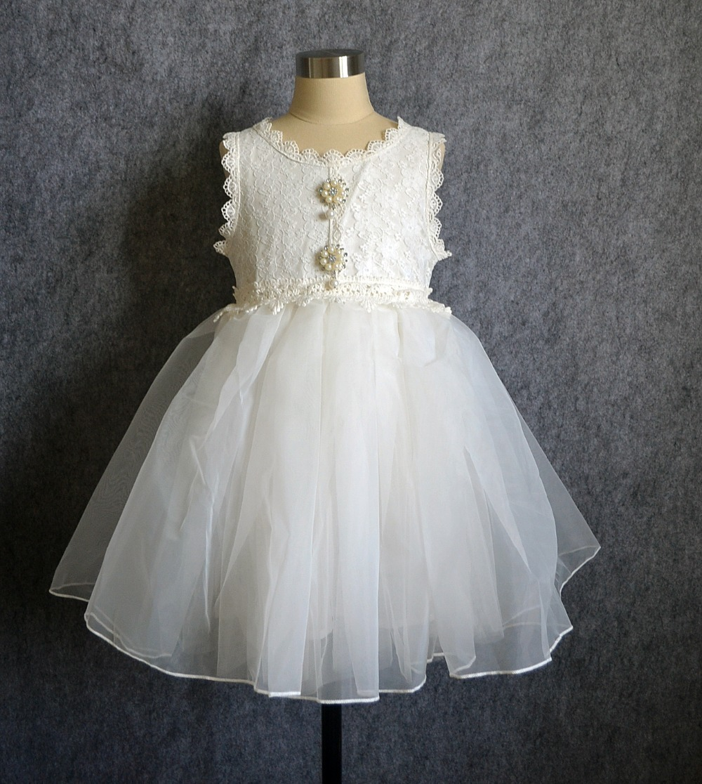 A-line Ivory Lace Tulle Ankle Length Flower Girl Dress ... |Flower Girl Dress Brooches