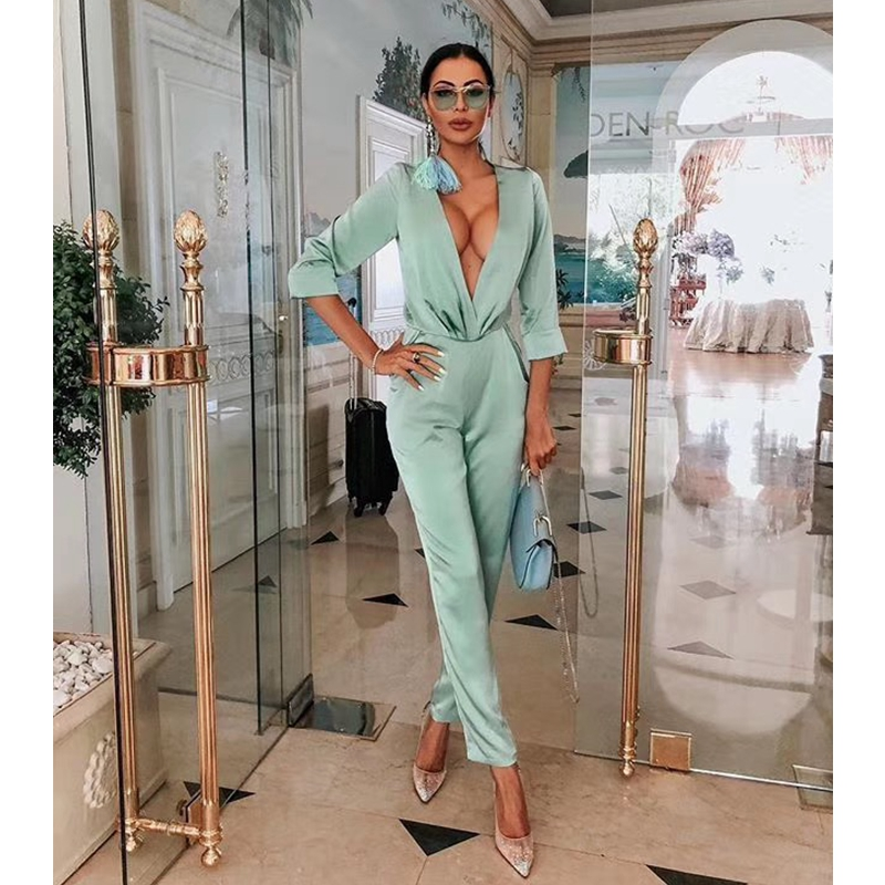 2019 New Fashion Hot Selling Bodycon Women Jumpsuit Sexy V Neck Satin Brithday Outfit Elegant Long Sleeve Bodysuit Dropshipping