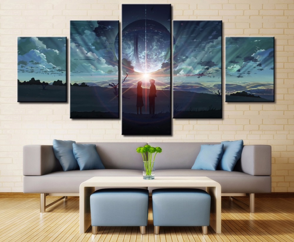 5 Pieces Modern HD Print Canvas Painting Art Byousoku Centimeter Paintings on Wall for Home Decorations Decor