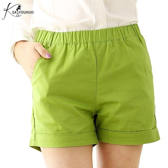 2021 Summer Hot Fashionable Biker Short Candy Color Casual Beach Black Shorts Women Plus Size Loose Cotton Neon Female Shorts 1