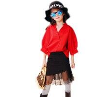 Toddler Girl Clothing 2017 New Fashion Girls Clothing Solid Blouse Shirt Black Mermaid Skirt 2pcs Toddler