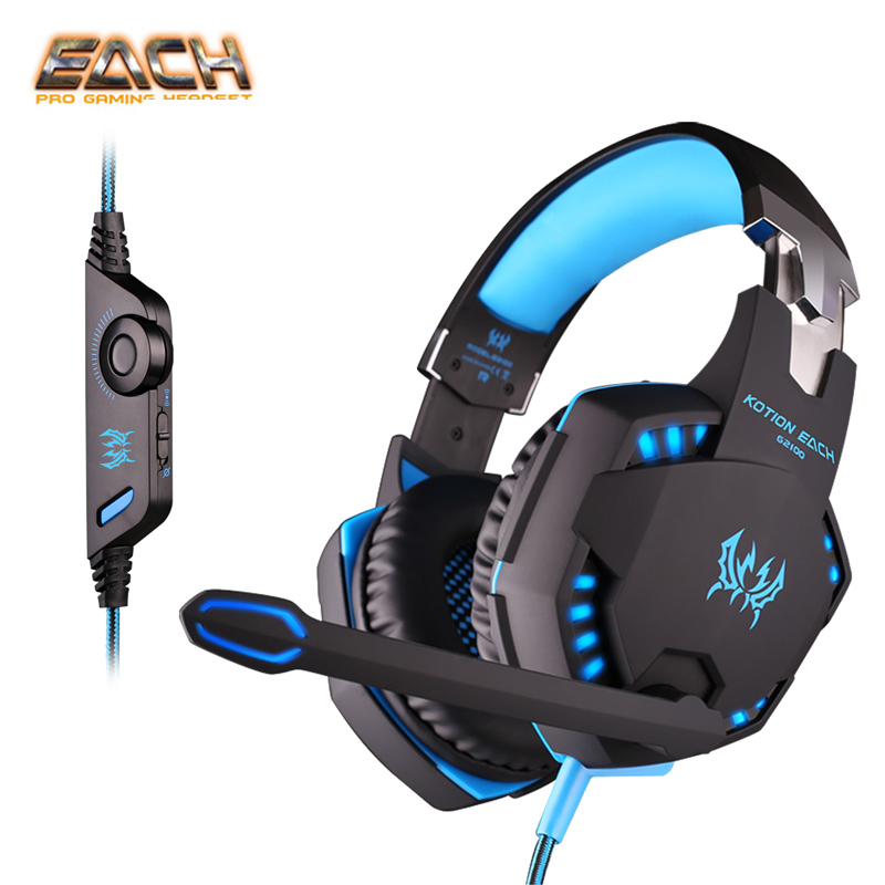 KOTION EACH G2100 Vibration Professional Gaming Headphone Noise Cancelling Games Headset with Mic Stereo Bass LED for PC Gamer led bass hd gaming headset mic stereo computer gamer over ear headband headphone noise cancelling with microphone for pc game