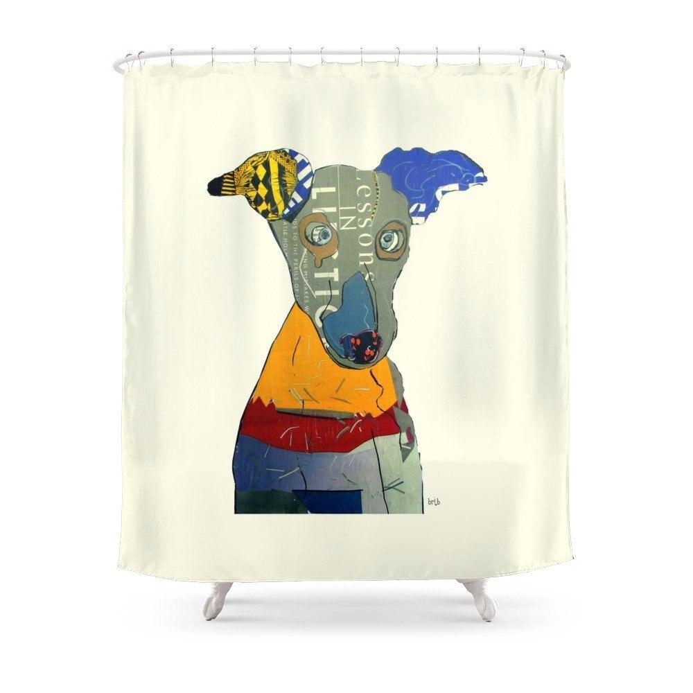 Kacy (greyhound Shower Curtain Set Bath Curtain For Bathroom With Non-slip Floor Mat