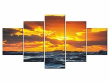 5 Pieces boat Picture Seascape Sunset Canvas Art Prints Framework Painting Sea Oil Wall Pictures Framed J009-062