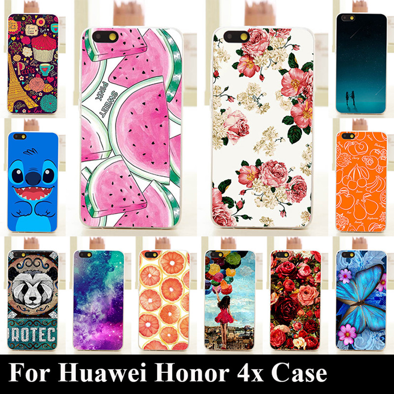 Case For Huawei Honor 4X Colorful Printing Drawing Transparent Plastic Phone Cover For Huawei Honor 4X Hard Phone Cases