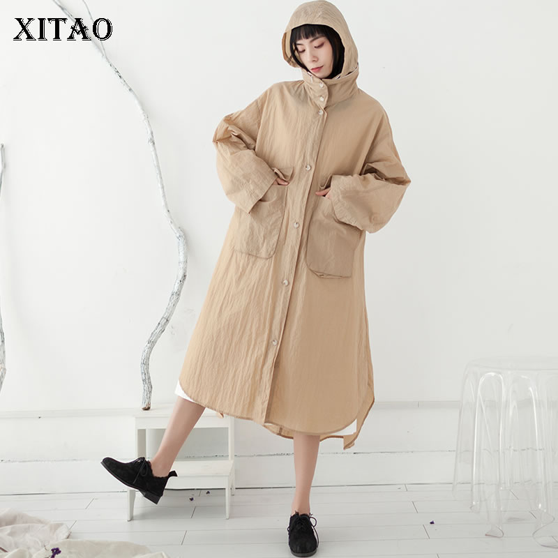 [XITAO] Spring Summer 2019 Women New Loose Casual Fashion Hooded Collar Full Sleeve Single Breasted Pocket   Trench   DLL2991