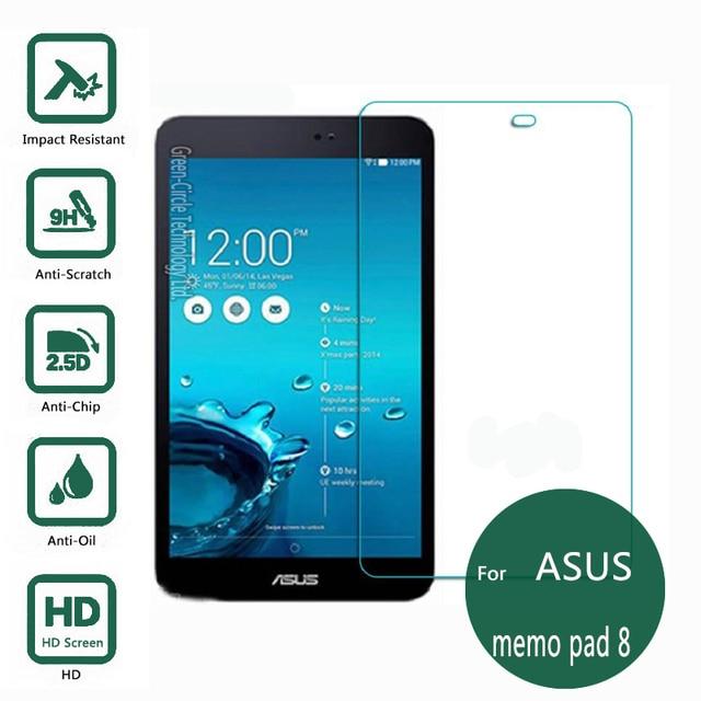 Para asus memo pad 8.0 vidrio templado protector de la pantalla 2.5 9 h película protectora de seguridad en bloc 8 me181c me581c