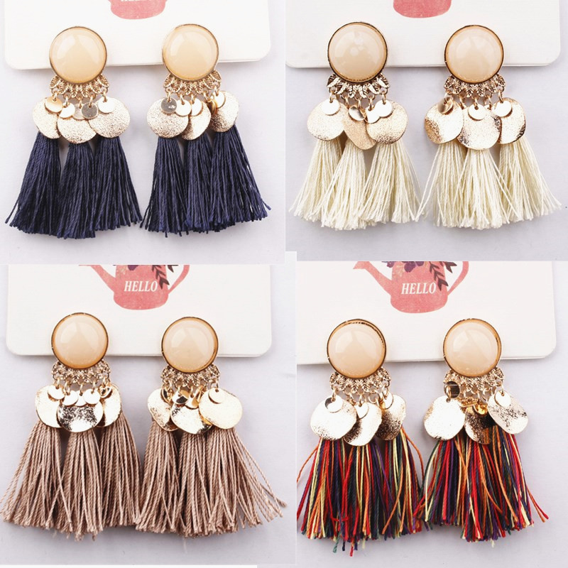 Hot Ethnic Tassel Earrings Dangle Bohemian Earrings for Women Coin Boho Fringe Drop Earrings Stones Vintage Jewelry