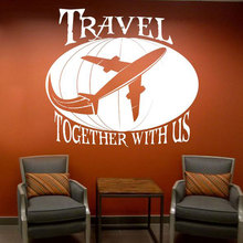 Travel Together With Us Quote Wall Sticker Voyage Airliner Earth Decals Vinyl Art Office Interior Removable Decor Murals 3602