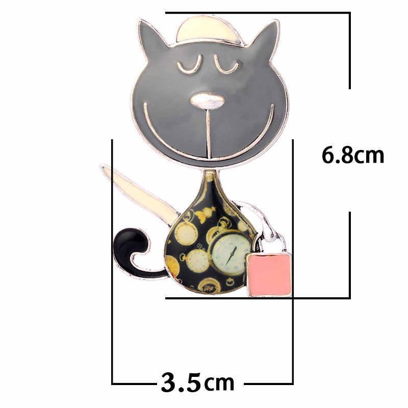 Paduan Seng Kucing dan Tas Tangan Bros Lucu Enamel Bros Pin Gaun Aksesoris untuk Pria Wanita 2019 Baru Fashion Perhiasan