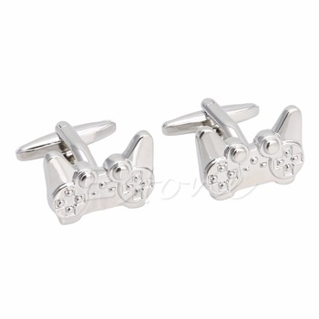 1Pair New Men's Stainless Steel Cufflink Silver Game Consoles Handle Cuff Linkst15