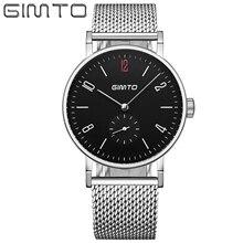 Gimto moda de acero reloj de los hombres top brand hombres de lujo del reloj de pulsera de cuarzo hombre reloj relogio masculino reloj hombre