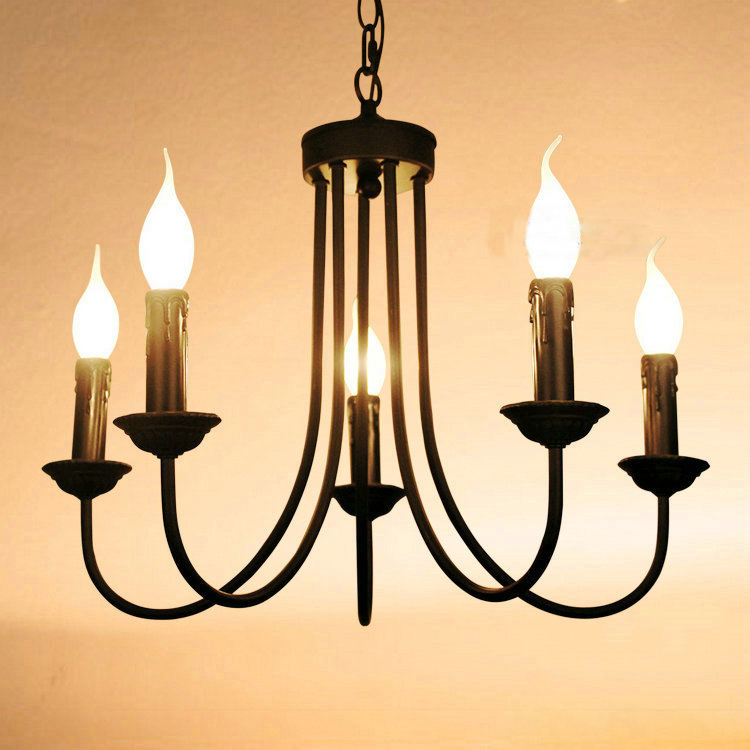 Luxury Black Painted Iron 5 Lights Living Room Chandeliers Free Shipping Romantic Dining Bedroom Chain