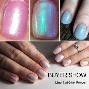 Image 5 - Full Beauty 3 Boxes Mirror Powder Set Nail Art Chrome Pigment Dust Shell DIY Glitter Manicure Blue Purple Decor Tips CHB01/03/04