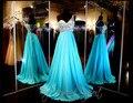 One Shoulder Aqua Chiffon Open Back Long Prom Dress Empire Waist Beading Top Sexy Evening Dress A-line Pageant Dress