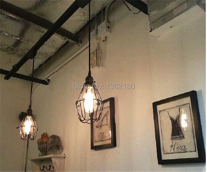 3 Pcs Of Black Twisted Cable Unique American Style Pendant Light Vintage Bird Cage Decoration Lamp Lights Free Via Ems In From