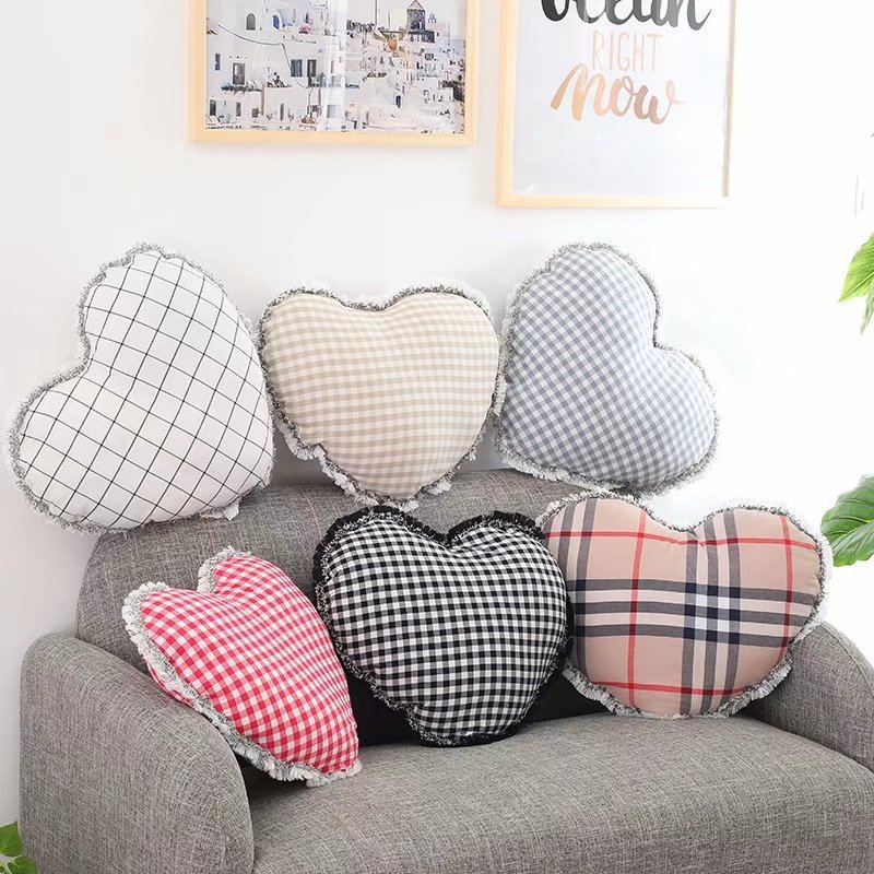 Nordic Brief Lattice Printing Love Pillow Ins Cute Baby Bed Children Room Decoration Photography Background Home Sofa Decor