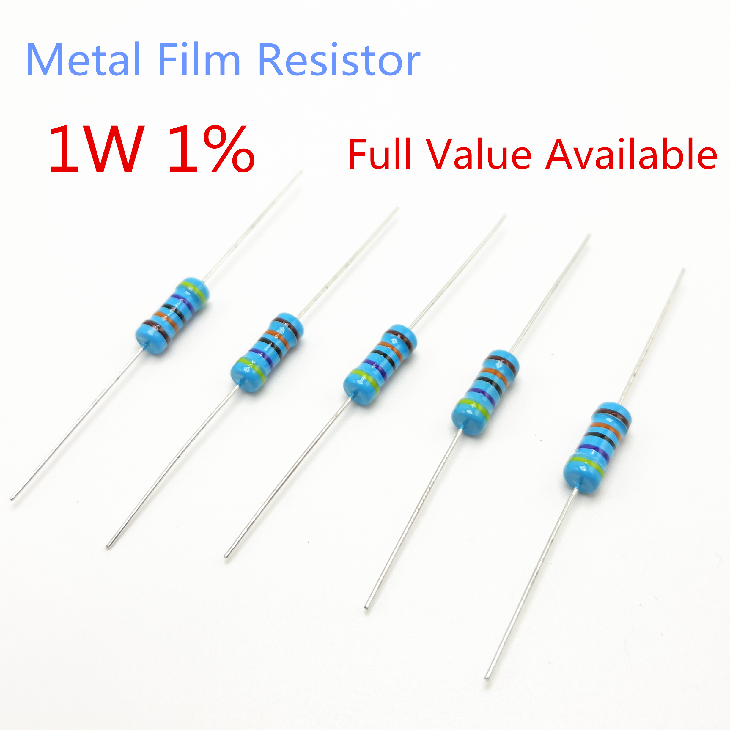 US Seller 250pcs 10 ohm 10R resistor 1//4 watt 1/% metal film through hole