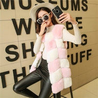 FOLOBE 2018 Fashion Black Pink Faux Fur Coat Winter Women Casual Slim Sleeveless Faux Fur Vest Jacket Women casaco feminino