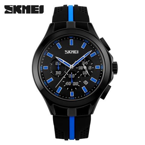 SKMEI Mens Watches Top Brand Luxury Male Quartz Watch Fashion Chronograph Sport Watch Silicone Strap Clock Men Relogio Masculino Karachi