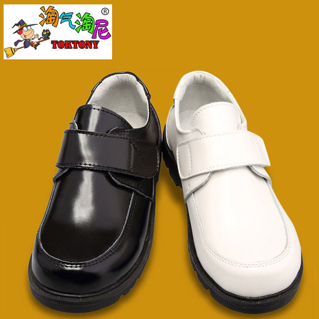 naughty male boy black and white dress shoes and leather shoes children school shoes
